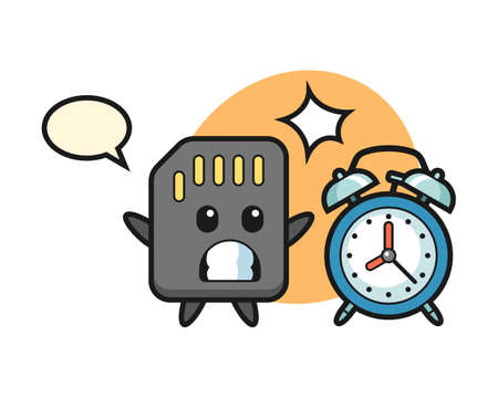 Cartoon Illustration of SD card is surprised with a giant alarm clock, cute style design for t shirt, sticker, logo element