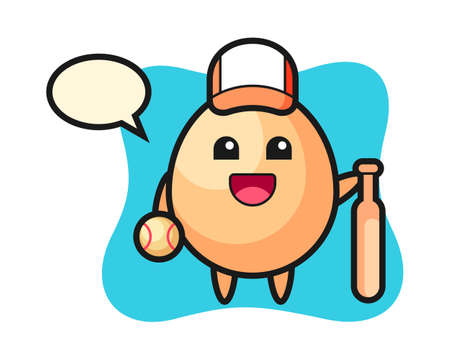Cartoon character of egg as a baseball player, cute style design for t shirt, sticker, logo element Stock Illustratie