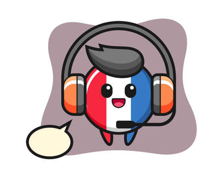 Cartoon mascot of france flag badge as a customer service, cute style design for t shirt, sticker, logo element