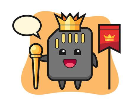 Mascot cartoon of SD card as a king, cute style design for t shirt, sticker, logo element
