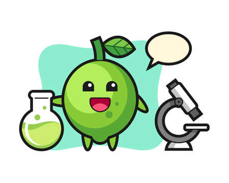 Mascot character of lime as a scientist, cute style design for t shirt, sticker, logo element