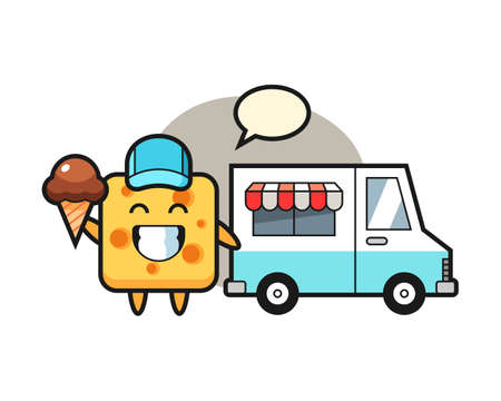Mascot cartoon of cheese with ice cream truck, cute style design for t shirt, sticker, logo element