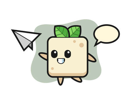 Tofu cartoon character throwing paper airplane, cute style design for t shirt, sticker, logo element 矢量图像