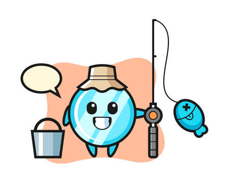 Mascot character of mirror as a fisherman, cute style design for t shirt, sticker, logo element