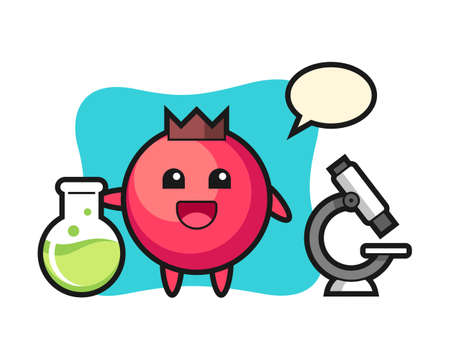 Mascot character of cranberry as a scientist, cute style design for t shirt, sticker, logo element