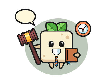 Mascot cartoon of tofu as a judge, cute style design for t shirt, sticker, logo element