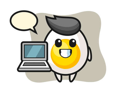 Mascot illustration of boiled egg with a laptop, cute style design for t shirt, sticker, logo element