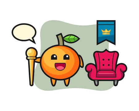 Mascot cartoon of mandarin orange as a king, cute style design for t shirt, sticker, logo element