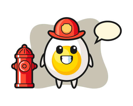 Mascot character of boiled egg as a firefighter, cute style design for t shirt, sticker, logo element