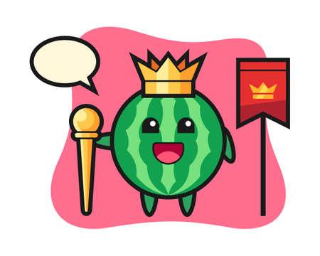 Mascot cartoon of watermelon as a king, cute style design for t shirt, sticker, logo element