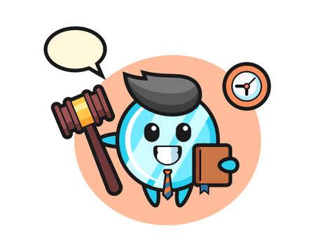 Mascot cartoon of mirror as a judge, cute style design for t shirt, sticker, logo element