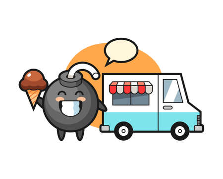 Mascot cartoon of bomb with ice cream truck, cute style design for t shirt, sticker, logo element Logo