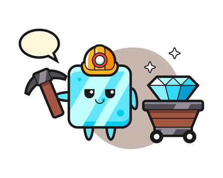 Character illustration of ice cube as a miner, cute style design for t shirt, sticker, logo element