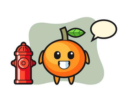 Mascot character of mandarin orange as a firefighter, cute style design for t shirt, sticker, logo element