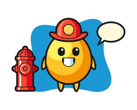 Mascot character of golden egg as a firefighter, cute style design for t shirt, sticker, logo element Illustration