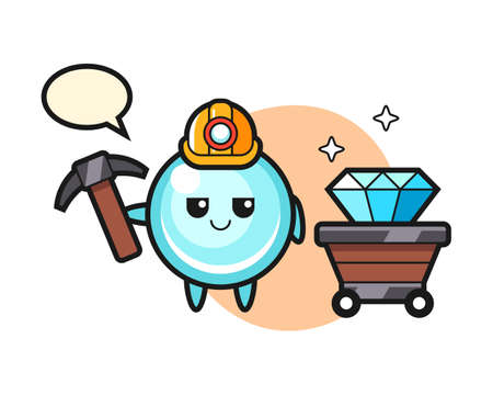 Character illustration of bubble as a miner, cute style design for t shirt, sticker, logo element