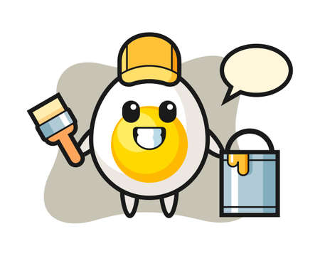 Character illustration of boiled egg as a painter, cute style design for t shirt, sticker, logo element Иллюстрация