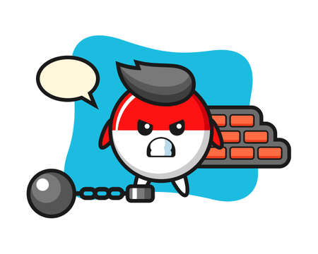 Character mascot of indonesia flag badge as a prisoner, cute style design for t shirt, sticker, logo element