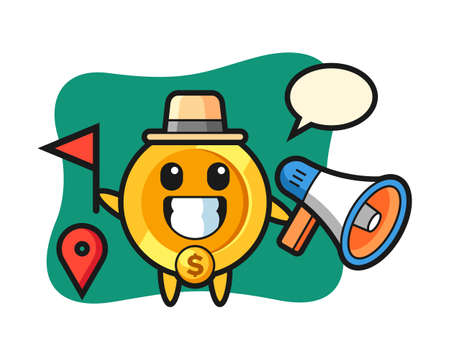 Character cartoon of dollar coin as a tour guide, cute style design for t shirt, sticker, logo element