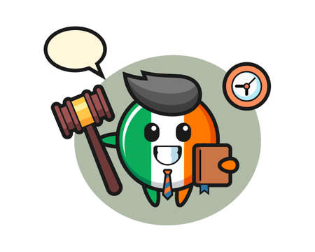 Mascot cartoon of ireland flag badge as a judge, cute style design for t shirt, sticker, logo element Illustration