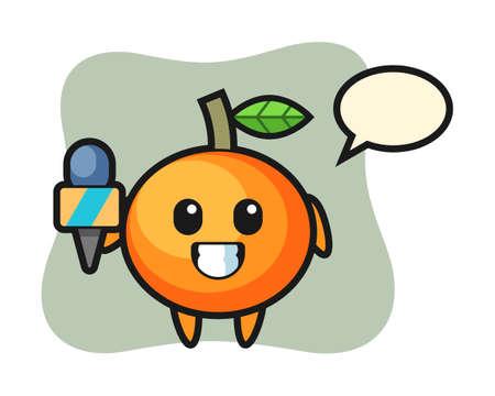 Character mascot of mandarin orange as a news reporter, cute style design for t shirt, sticker, logo element Illustration
