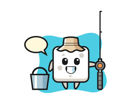Mascot character of sugar cube as a fisherman, cute style design for t shirt, sticker, logo element