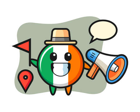 Character cartoon of ireland flag badge as a tour guide, cute style design for t shirt, sticker, logo element Logó