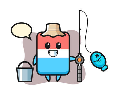 Mascot character of eraser as a fisherman, cute style design for t shirt, sticker, logo element