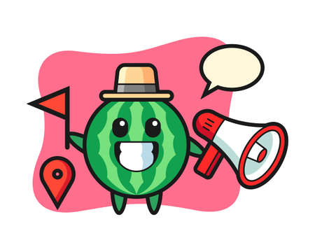 Character cartoon of watermelon as a tour guide, cute style design for t shirt, sticker, logo element Logó