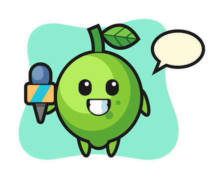 Character mascot of lime as a news reporter, cute style design for t shirt, sticker, logo element
