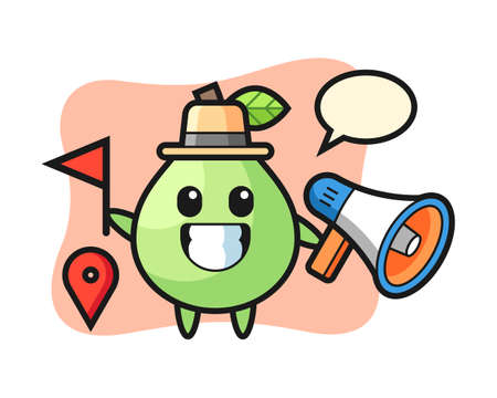 Character cartoon of guava as a tour guide, cute style design for t shirt, sticker, logo element