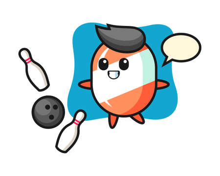 Character cartoon of candy is playing bowling, cute style design for t shirt, sticker, logo element