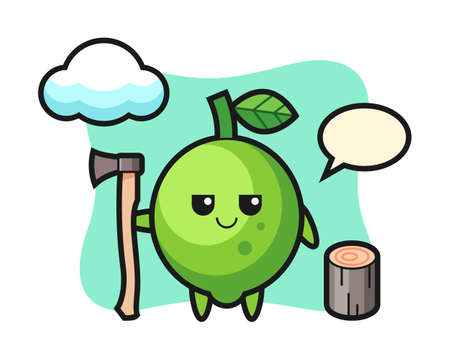 Character cartoon of lime as a woodcutter, cute style design for t shirt, sticker, logo element