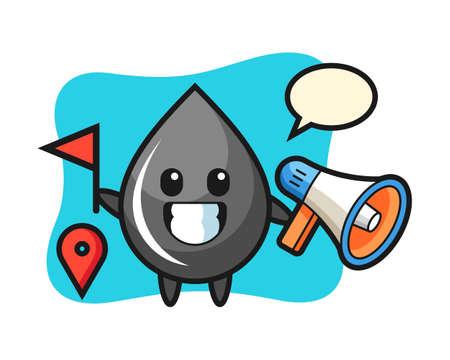 Character cartoon of oil drop as a tour guide, cute style design for t shirt, sticker, logo element Logó