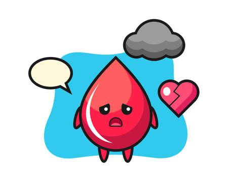 Blood drop cartoon illustration is broken heart, cute style design for t shirt, sticker, logo element Logó