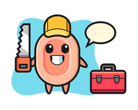 Illustration of soap character as a woodworker, cute style design for t shirt, sticker, logo element