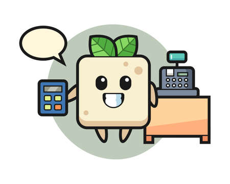 Illustration of tofu character as a cashier, cute style design for t shirt, sticker, logo element Logo