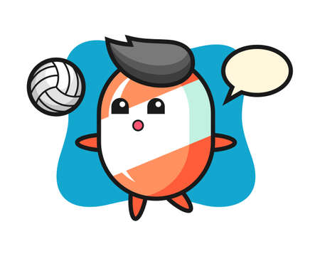 Character cartoon of candy is playing volleyball, cute style design for t shirt, sticker, logo element