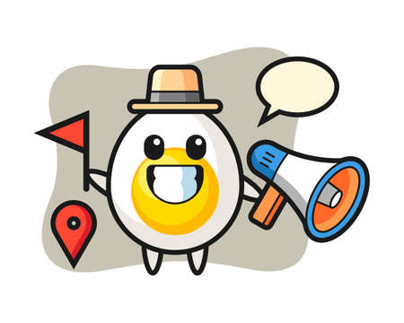 Character cartoon of boiled egg as a tour guide, cute style design for t shirt, sticker, logo element