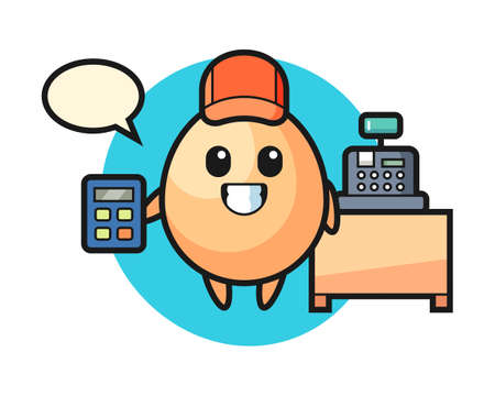 Illustration of egg character as a cashier, cute style design for t shirt, sticker, logo element