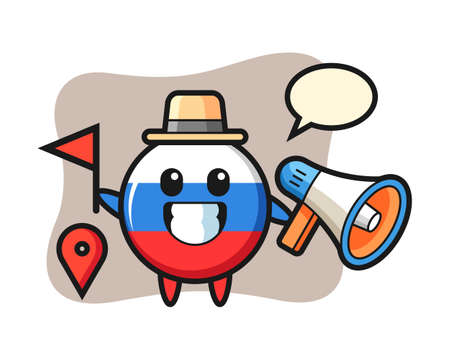 Character cartoon of russia flag badge as a tour guide, cute style design for t shirt, sticker, logo element