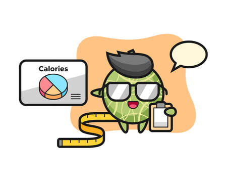 Illustration of melon mascot as a dietitian, cute style design for t shirt, sticker, logo element