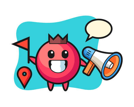 Character cartoon of cranberry as a tour guide, cute style design for t shirt, sticker, logo element Logó