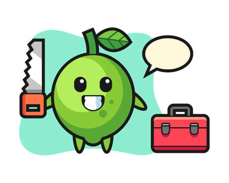 Illustration of lime character as a woodworker, cute style design for t shirt, sticker, logo element