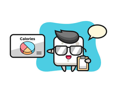 Illustration of sugar cube mascot as a dietitian, cute style design for t shirt, sticker, logo element