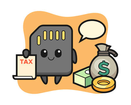 Character cartoon of SD card as a accountant, cute style design for t shirt, sticker, logo element
