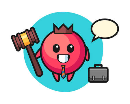 Illustration of cranberry mascot as a lawyer, cute style design for t shirt, sticker, logo element