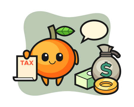 Character cartoon of mandarin orange as a accountant, cute style design for t shirt, sticker, logo element