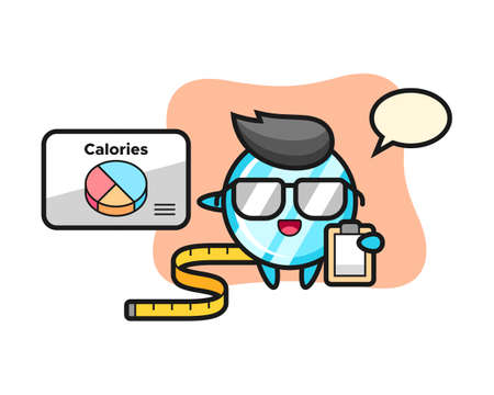 Illustration of mirror mascot as a dietitian, cute style design for t shirt, sticker, logo element