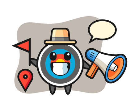 Character cartoon of target archery as a tour guide, cute style design for t shirt, sticker, logo element Logó